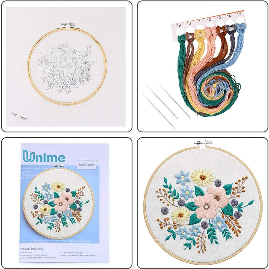 Accurate Cross Stitch Kit Flower Pattern DIY Embroidery Starter for Adults Kids Home Decoration