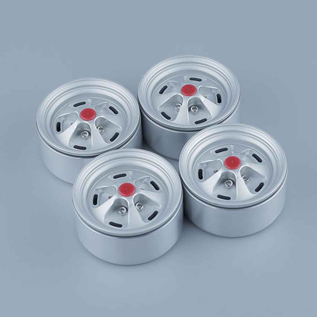 4 Pack 1.9  Wheels Rims 5 Spokes for 1/10 RC Crawler Axial SCX10 90046 D90 RC Car Wheel Hubs (Sliver)