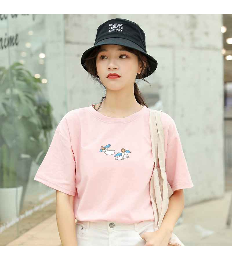Kawaii Angel Print Women T Shirt Casual Funny Cute Tops Streetwear Hipster Tumblr Female Harajuku Cotton T-Shirts Camiseta Mujer (12)