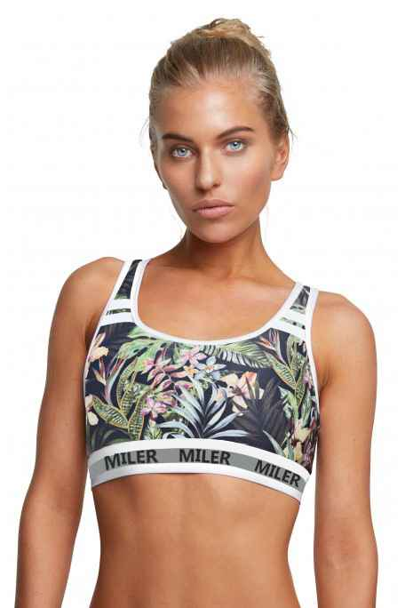 Dark green leaves Tropical leaf flower print sports tops bra running bra fitness activewear gear (5)
