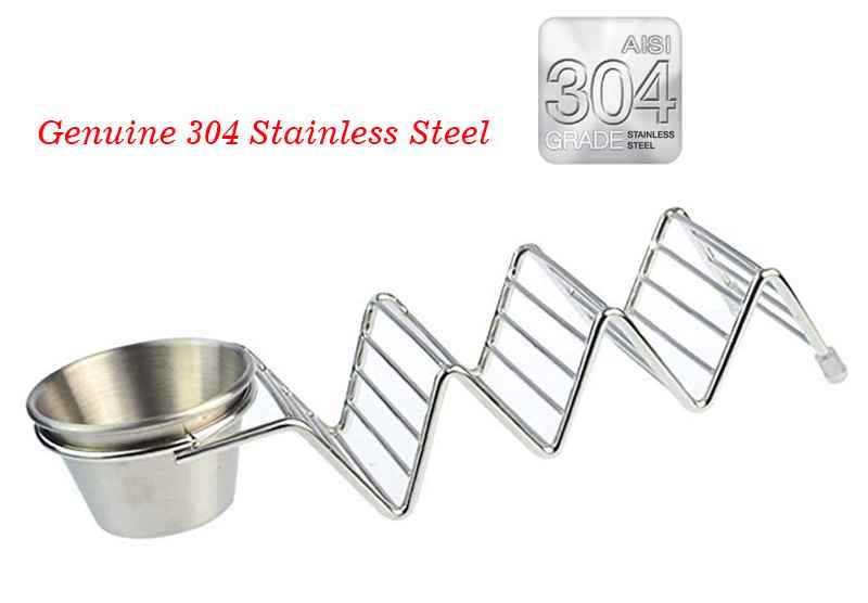 Stainless steel taco holder with dipping cup 2 -