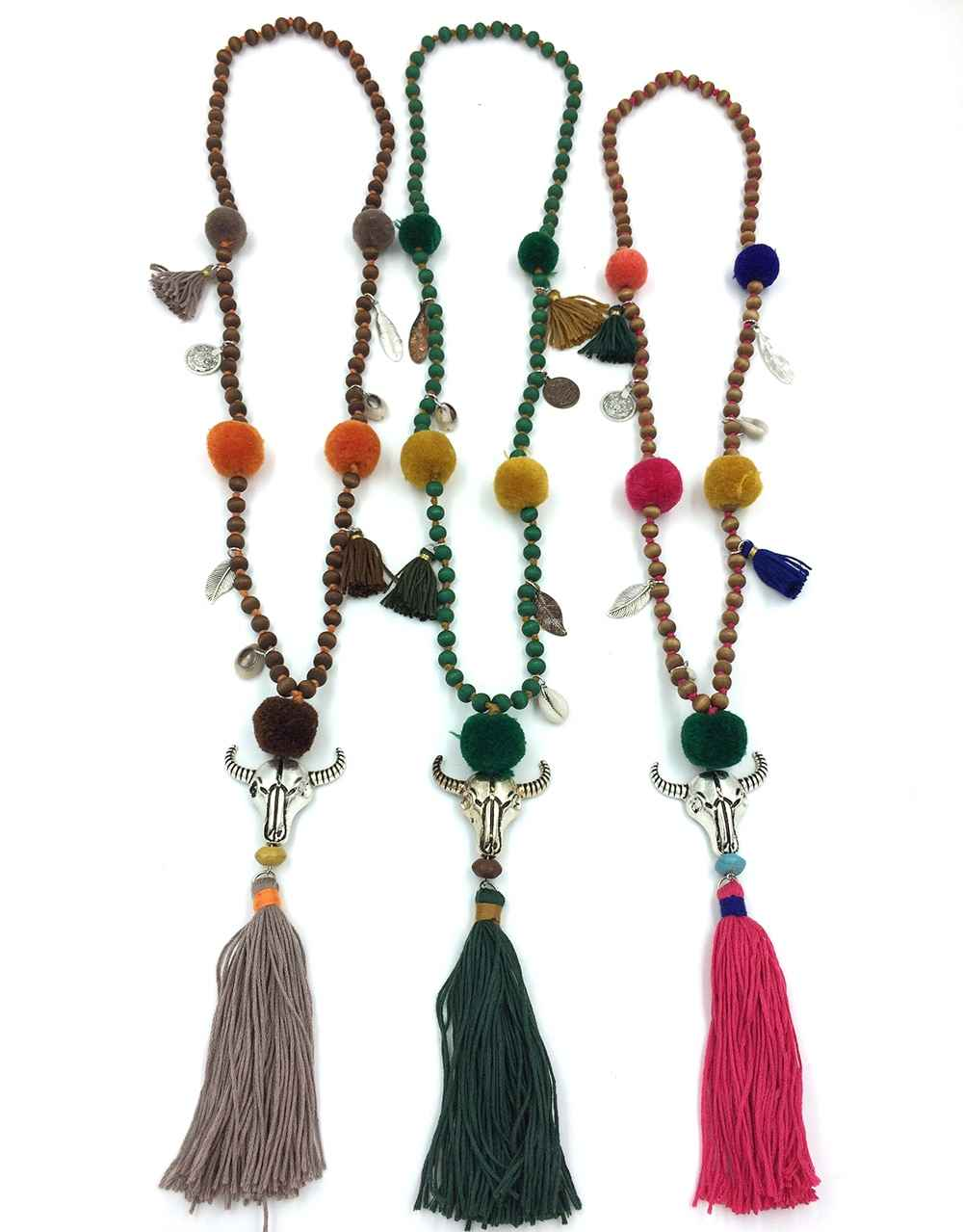 2017 Collares Collier Maxi Necklace Boho For Buffalo Head Skull Tauren Pendants Necklace Tassel Beades Chain Long Pompoms Charm