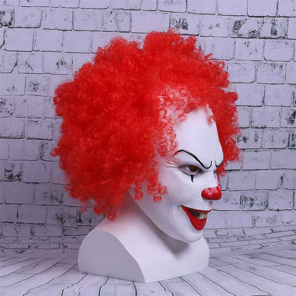 Movie Stephen King's It Mask Pennywise Mask Cosplay Masks Red Hair Clown Joker Halloween (4)