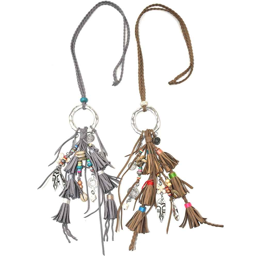 2017 New handmade Bohemia jewelry leather tassel pendents unique boho long Necklaces leather woven chain necklce