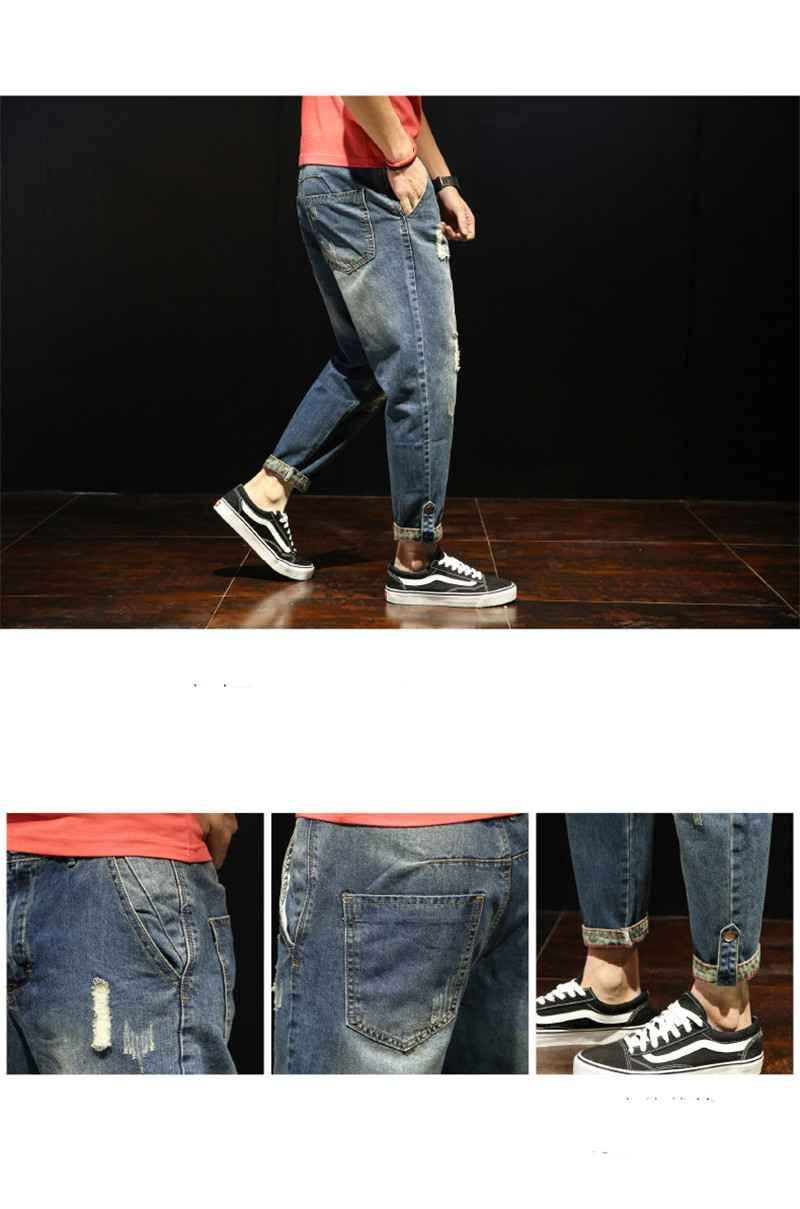 Fashion Patchwork Ripped Men\'s Jeans Boys Loose Casual Holes Ankle-Length Harem Pants Jeans Trousers Large Size (17)