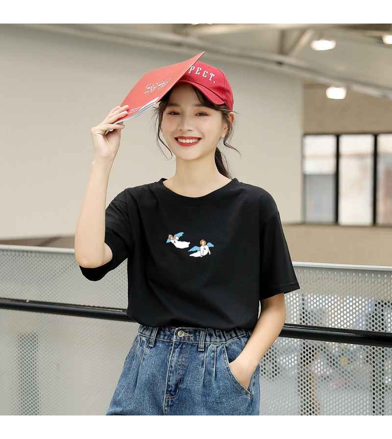 Kawaii Angel Print Women T Shirt Casual Funny Cute Tops Streetwear Hipster Tumblr Female Harajuku Cotton T-Shirts Camiseta Mujer (4)
