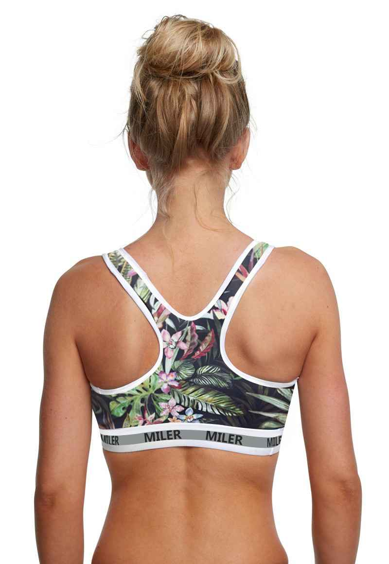 Dark green leaves Tropical leaf flower print sports tops bra running bra fitness activewear gear (6)