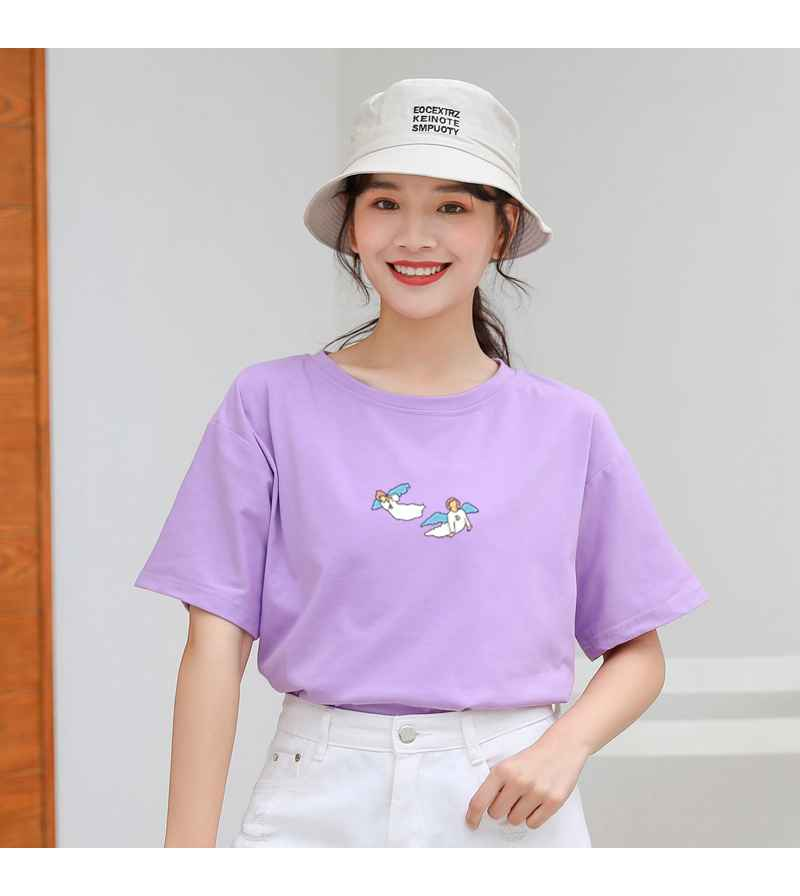 Kawaii Angel Print Women T Shirt Casual Funny Cute Tops Streetwear Hipster Tumblr Female Harajuku Cotton T-Shirts Camiseta Mujer (13)
