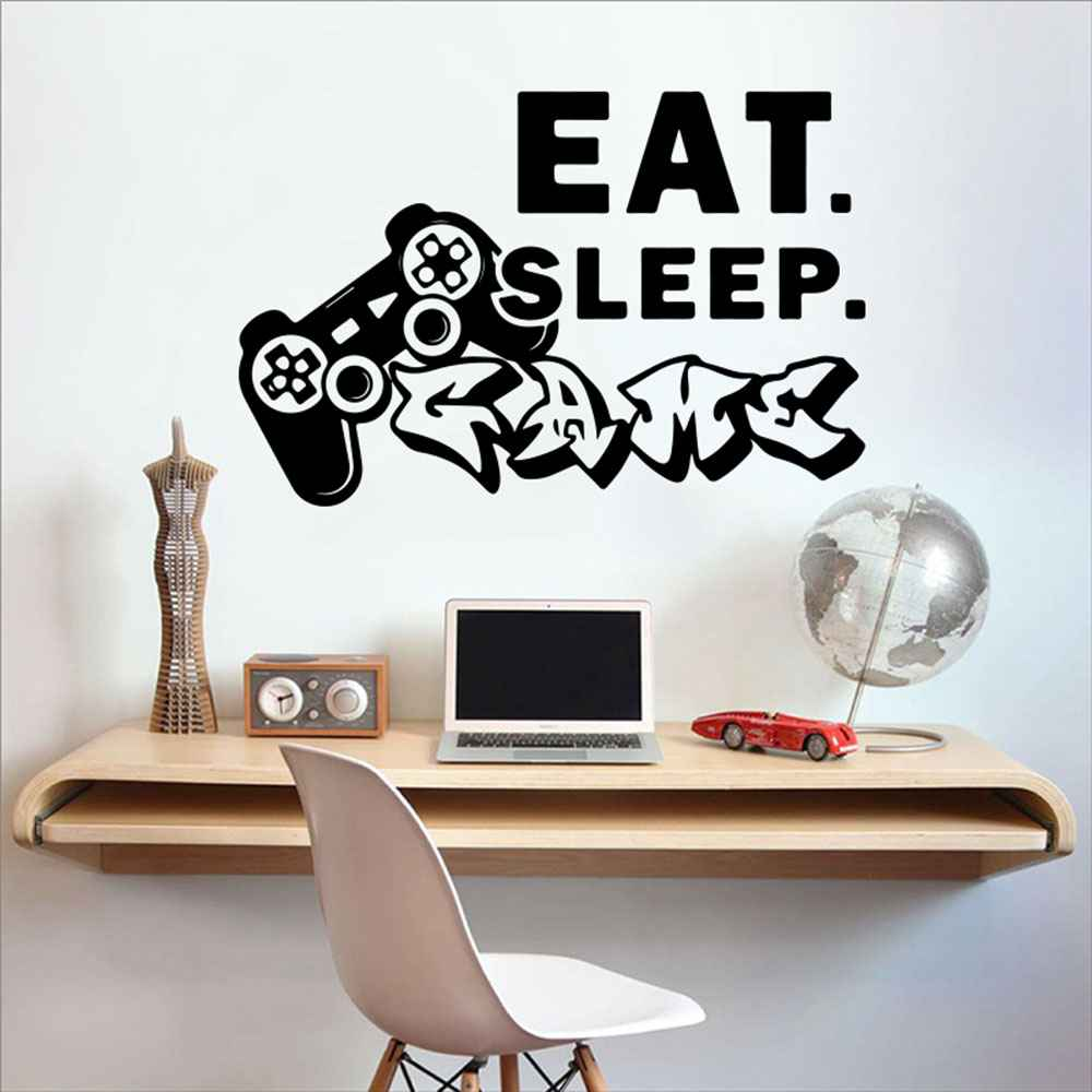 Eat Sleep Game Wall Sticker Play station Boy Room Eat Sleep Game Controller video game Wall Decal Playroom Vinyl Home Decor (1)