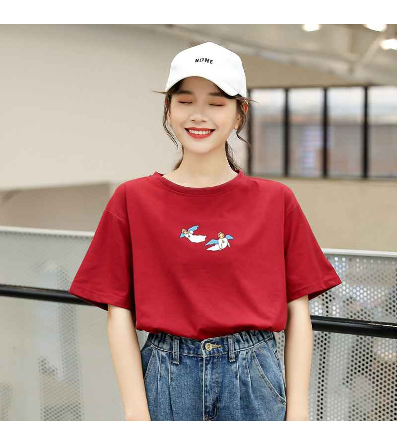Kawaii Angel Print Women T Shirt Casual Funny Cute Tops Streetwear Hipster Tumblr Female Harajuku Cotton T-Shirts Camiseta Mujer (10)