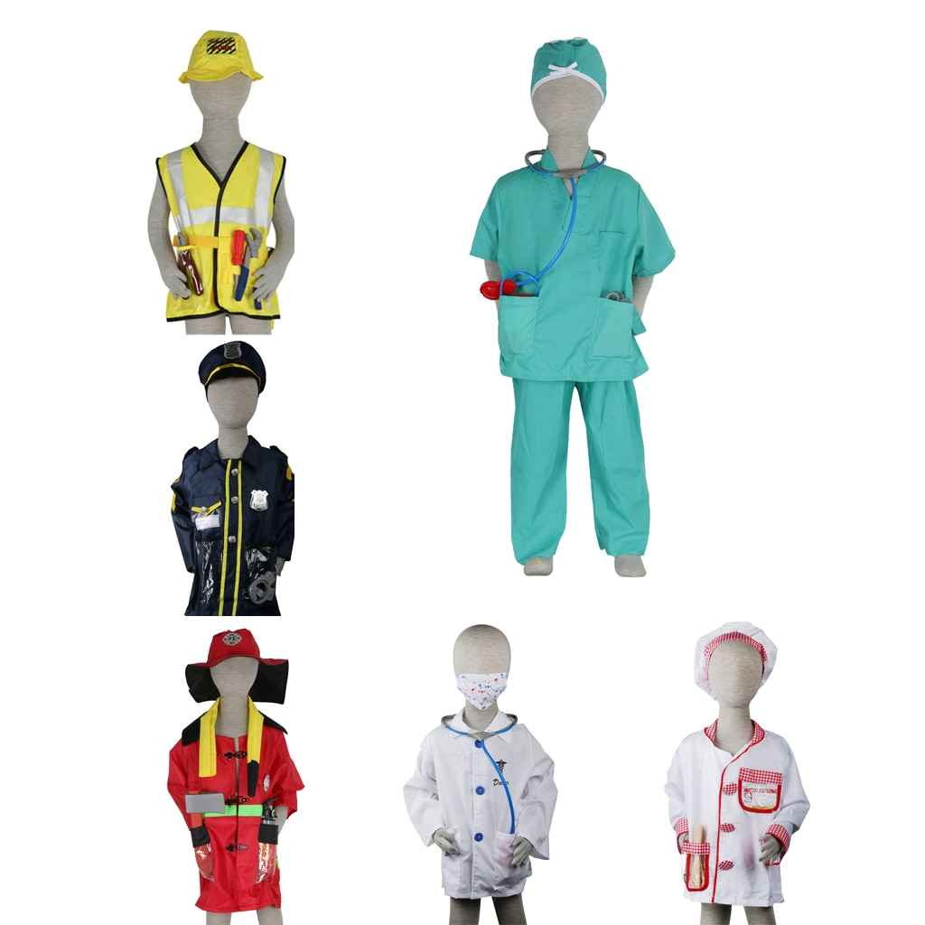 Boys Girls Role Play Game Costume Doctor Police man Fireman Cosplay Clothes Fancy Dress up Emergency Costume Party Supplies